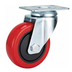 Medium Duty Red PU Caster Swivel Plate